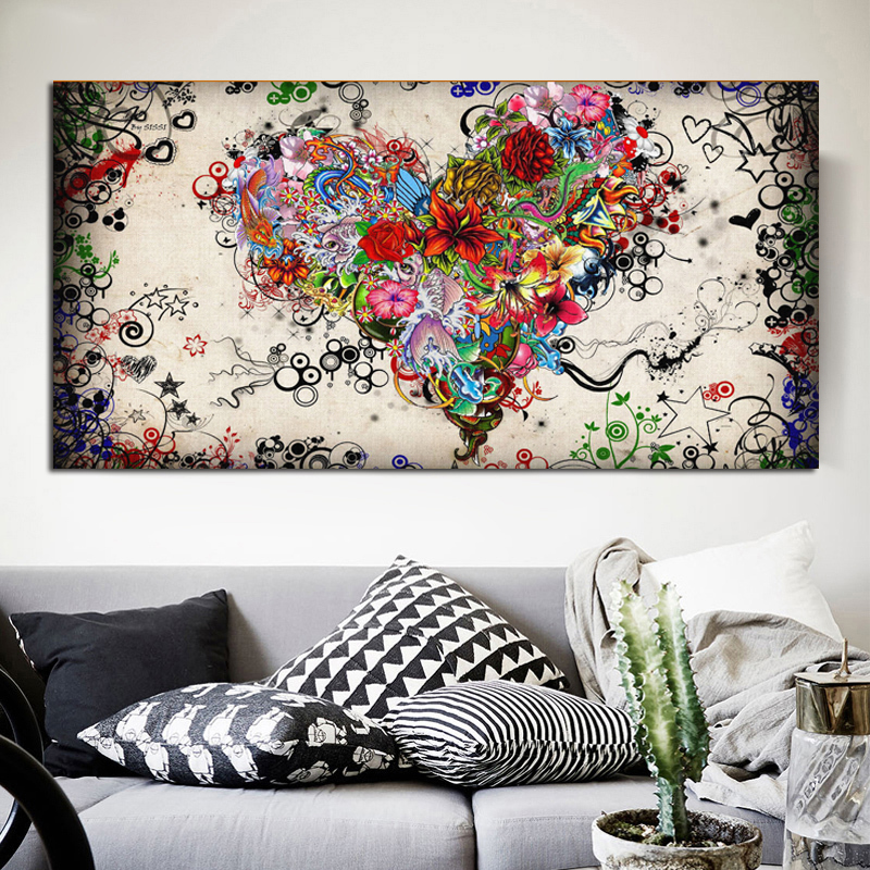Modern Big Wall Art Canvas Painting Watercolor Heart Flowers Abstract Wall Pictures for Living Room HD print Cuadros Home Decor