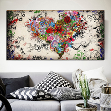 Modern Big canvas wall art painting Watercolor Heart Flowers Abstract Pictures for living room HD print unframed