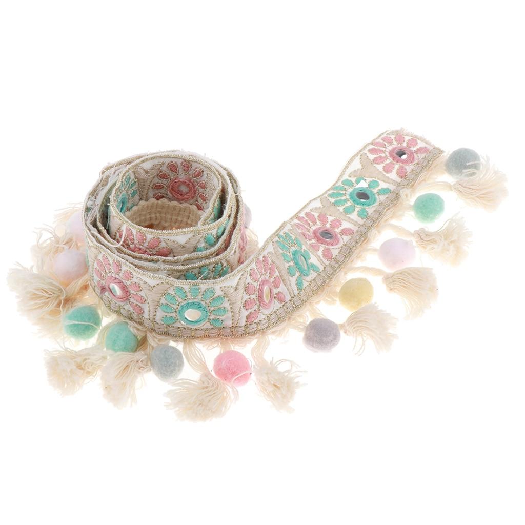 1 ярд жаккардовой ленты, отделка с помпоном, кисточка, сделай сам, для свадьбы, вечеринки, ювелирных изделий, ювелирных изделий, сумки, платье ...