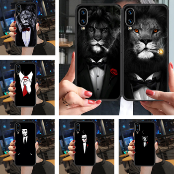 Cool Man Suit Shirt Tie Phone case For Huawei Honor View 6 7 8 9 10 10i 20 A C X Lite Pro Play black tpu Etui luxury coque image