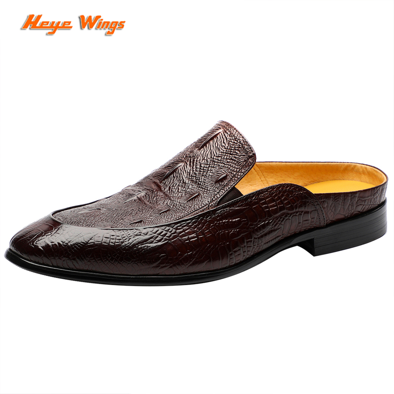 Men trend leather mules half slippers luxury outer wear men's leather shoes  Crocodile pattern Open Back Slippers Designer Shoes|Men's Casual Shoes| -  AliExpress