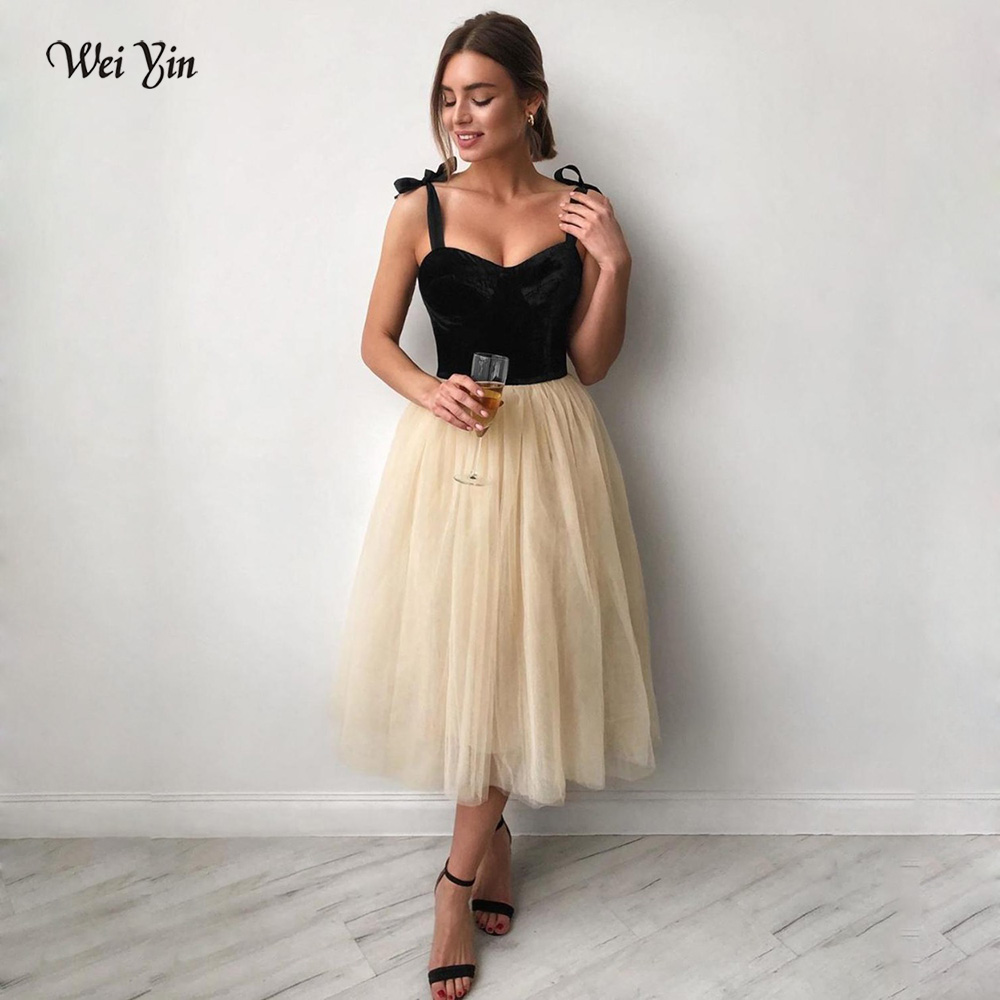 Weiyin AE0621 Tulle Spaghetti Prom Dresses A Line Velvet Top Sexy Girls Cocktail Dresses Tea Length Homecoming Dresses