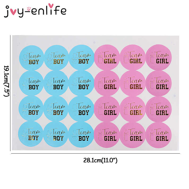 24pcs Team Boy Team Girl Stickers Boy or Girl Sticker for Gender Reveal Party