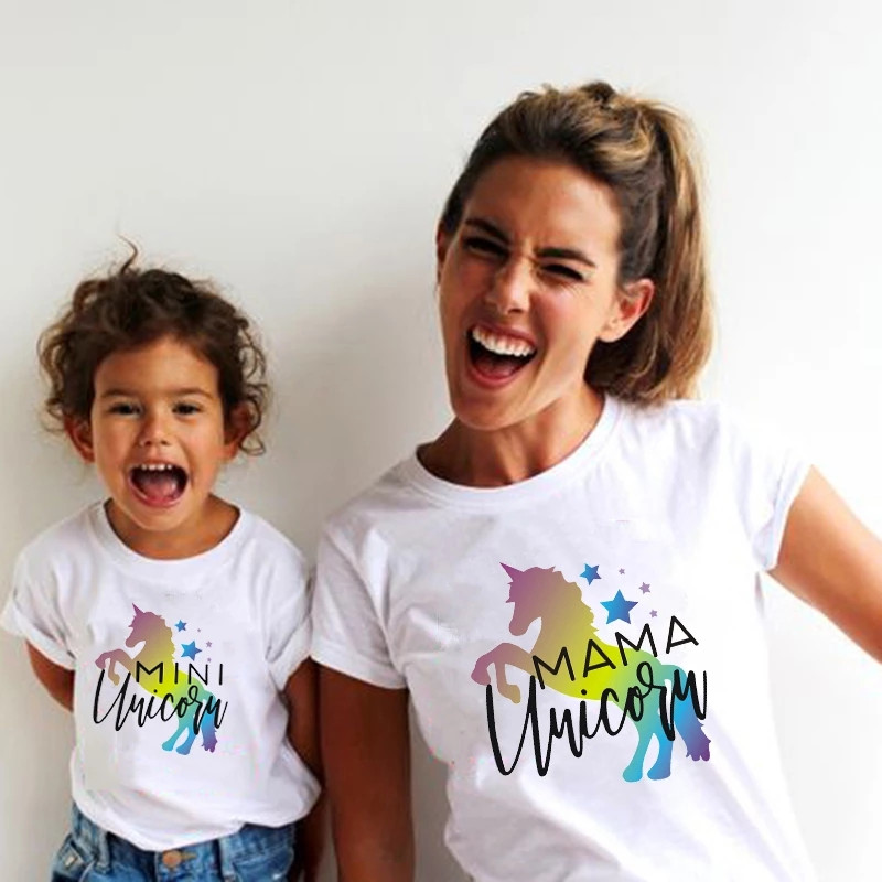 Mama Unicorn Mini Unicorn Family Matching Clothes Mommy and Me Tshirts Mother and Daughter Matching Outfist Baby Girls Clothes