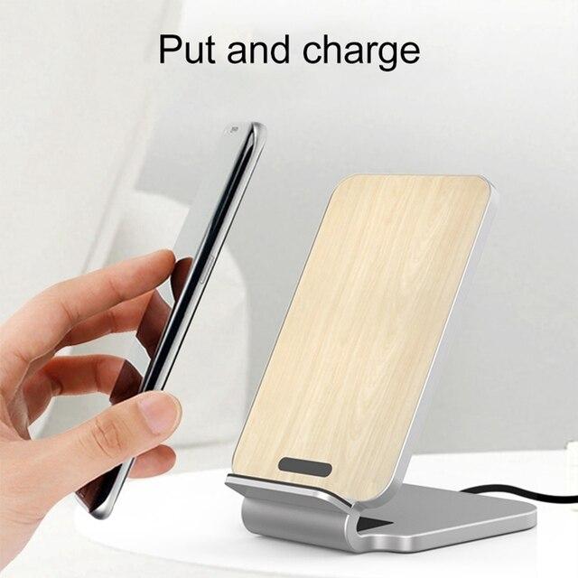KISSCASE 10W ładowarka bezprzewodowa do iPhone XS drewniane szybkie bezprzewodowe ładowanie do Samsung Galaxy S9 S8 uwaga 10 ładowarka do telefonu