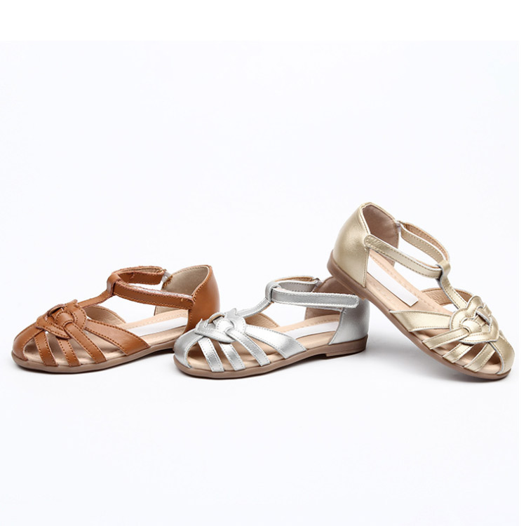 Children  Hollow-outs Leather Sandals Size 26-35 Baby Toddler Girl Summer Beach Shoes Bohemian Style Girls Golden Silver Sandals