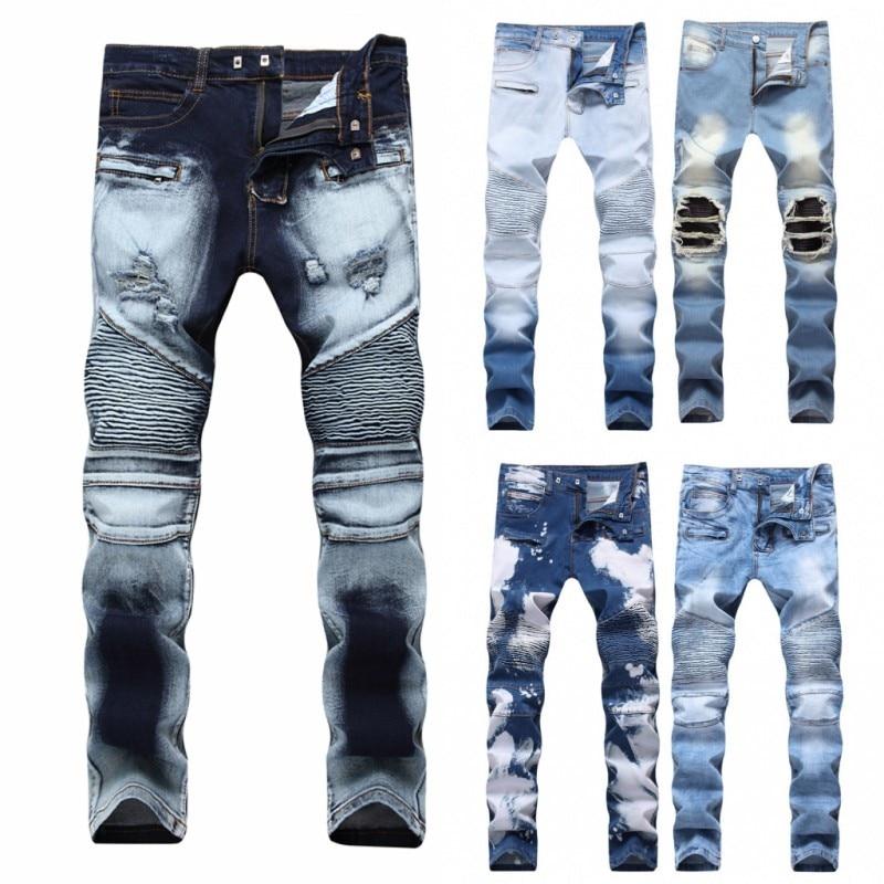 New Biker Jeans Men 2018 Autumn Casual Washed Cotton Fold Skinny Ripped Jeans Hip Hop Elasticity Slim Denim Jeans Pants Home
