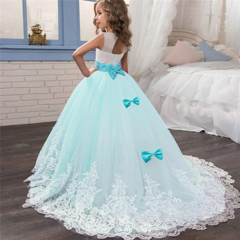 Lace Elegant Flower Girl Dress Tulle Beading Appliqued Pageant Dresses For Girls First Communion Dresses New Year Train Dresses 5