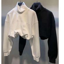 2020 AW koszulka z napisem czarno-biała moda luksusowa marka haftowana bluzka kobieca z golfem tanie tanio AYUALIN Poliester Bluzy Puff rękawem Pełna Suknem BL19573 0 25 Swetry WOMEN Stałe Krótki Na co dzień Osób w wieku 18-35 lat