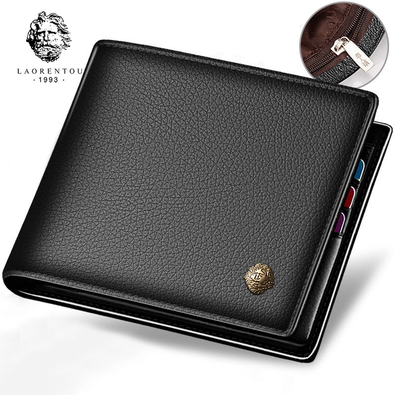 LAORENTOU Wallet Men Genuine Leather Standard Card Holders Short Wallet Vintage Cow Leather Man Wallets Casual Card Purse
