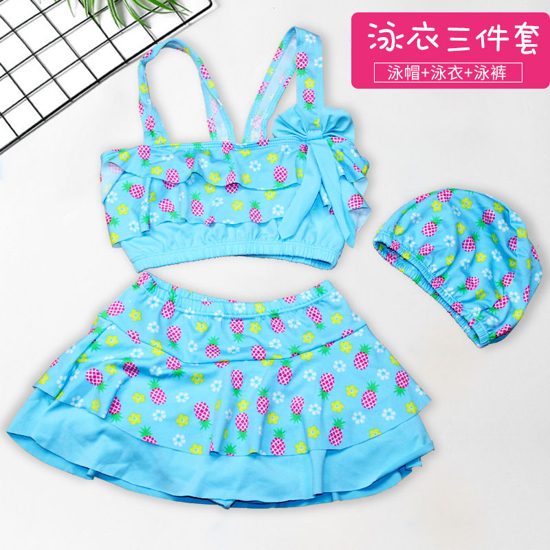 Cute Hipster GIRL'S Split Swimsuit Three-piece Set Elasticity Comfortable Swimming Cap Printed Children Split Type Hot Springs B