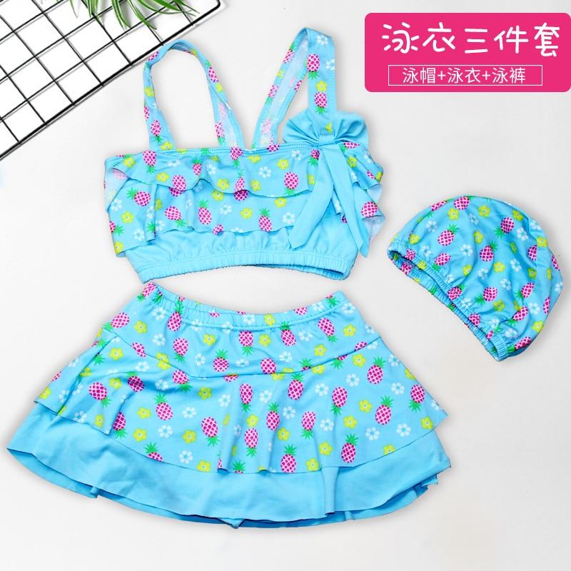 Cute Hipster GIRL'S Split Swimsuit Three-piece Set Elasticity Comfortable Swimming Cap Printed Children Split Type Hot Springs B