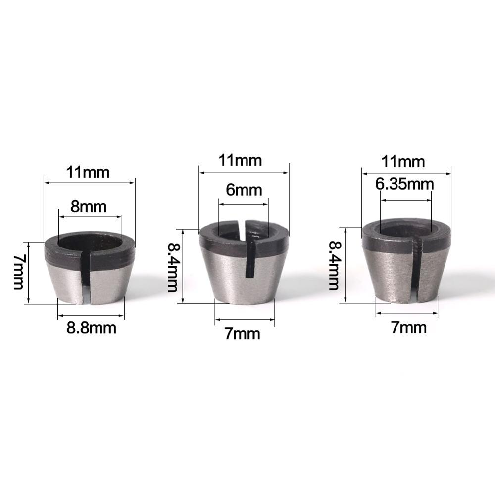 3pcs/lot High Precision Adapter Collet Shank Router Tool Adapters Holder 6mm/6.35mm/8mm