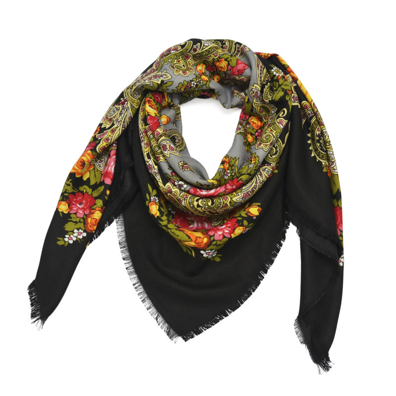 Russian Shawl Ukrainian Handkerchief Headscarf Church Babushka Paisley Autumn Winter Hair Head Wrap National Square Cotton Hijab