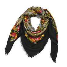 Russian Shawl Ukrainian Handkerchief Headscarf Church Babushka Paisley Autumn Winter Hair Head