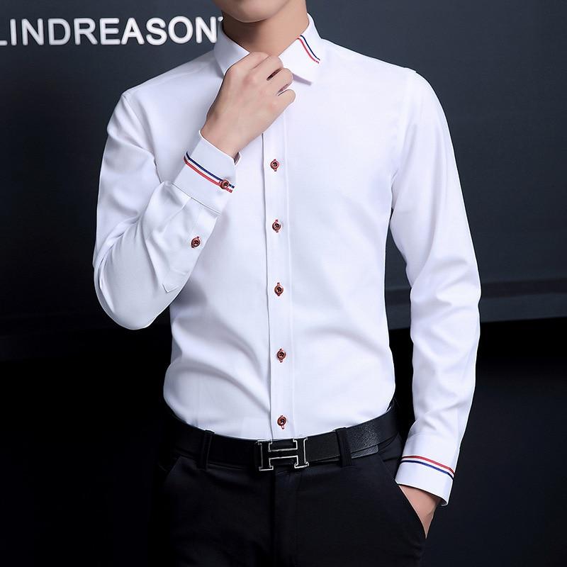 LUX ANGNER 2020 New Men Dress Shirts Brand Clothing Fashion Social Casual Shirt Men Slim Fit Long-Sleeve Business Shirt 4Xl 5XL