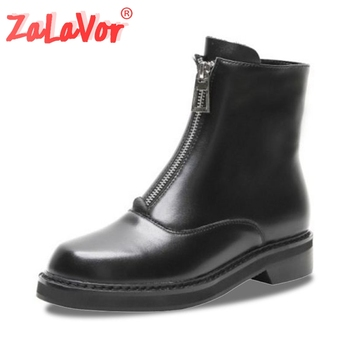 ZALAVOR Woman 2020 Front Zipper Fashion Round Toe Real Leather Ankle Boots Sexy Motorcycle Boots Flats Shoes Women Size 33-42