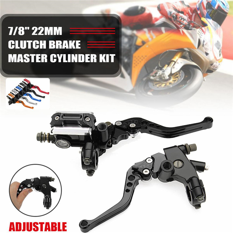 7//8 Universal Motorcycle Brake Clutch Master Cylinder Reservoir Levers for Motorbike 1 Pair Adjustable Break and Clutch Levers Red