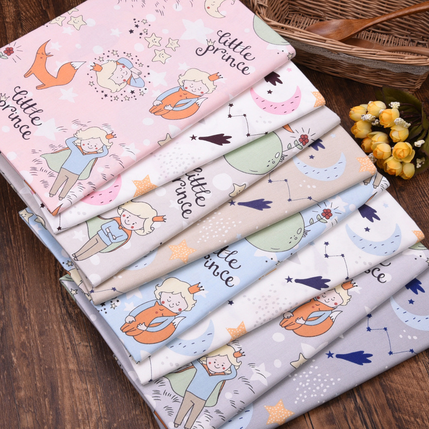 100% Cotton Twill Fabric Cartoon little Prince Printed DIY Sewing for Children Clothes patchwork cloth Handmade Textile bedding