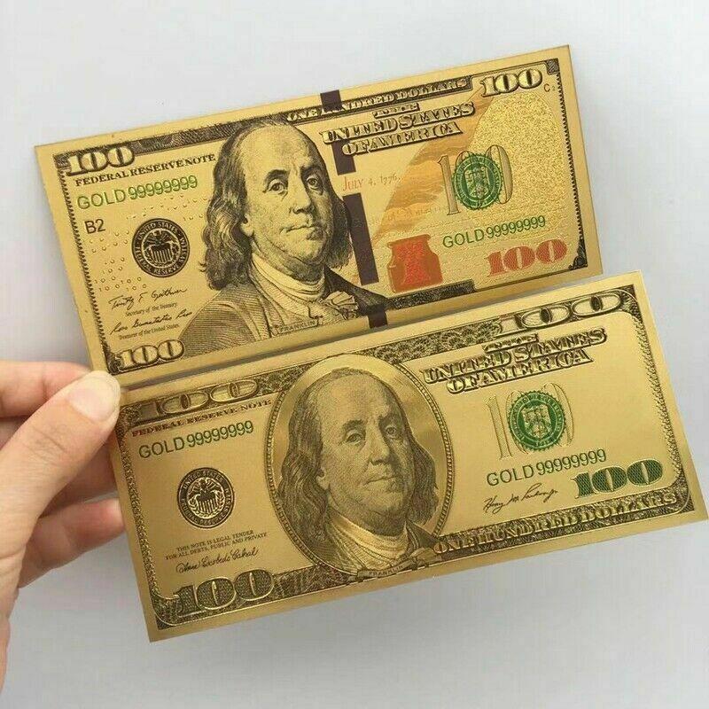 Старая и новая золотая фольга, 2 шт., США, банкноты, 100 долларов, банкноты, банкноты, бумажные деньги