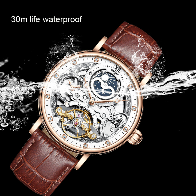 Kinyued skeleton watches mechanical automatic watch men tourbillon sport clock casual business moon wrist watch relojes hombre