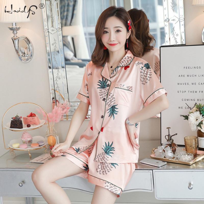 Women Spring Pajama Set Short Sleeve Plus Size 3XL 4XL 5XL Pajamas Sets Silk Satin Pijama Sleepwear Pyjamas Nightwear Homewear