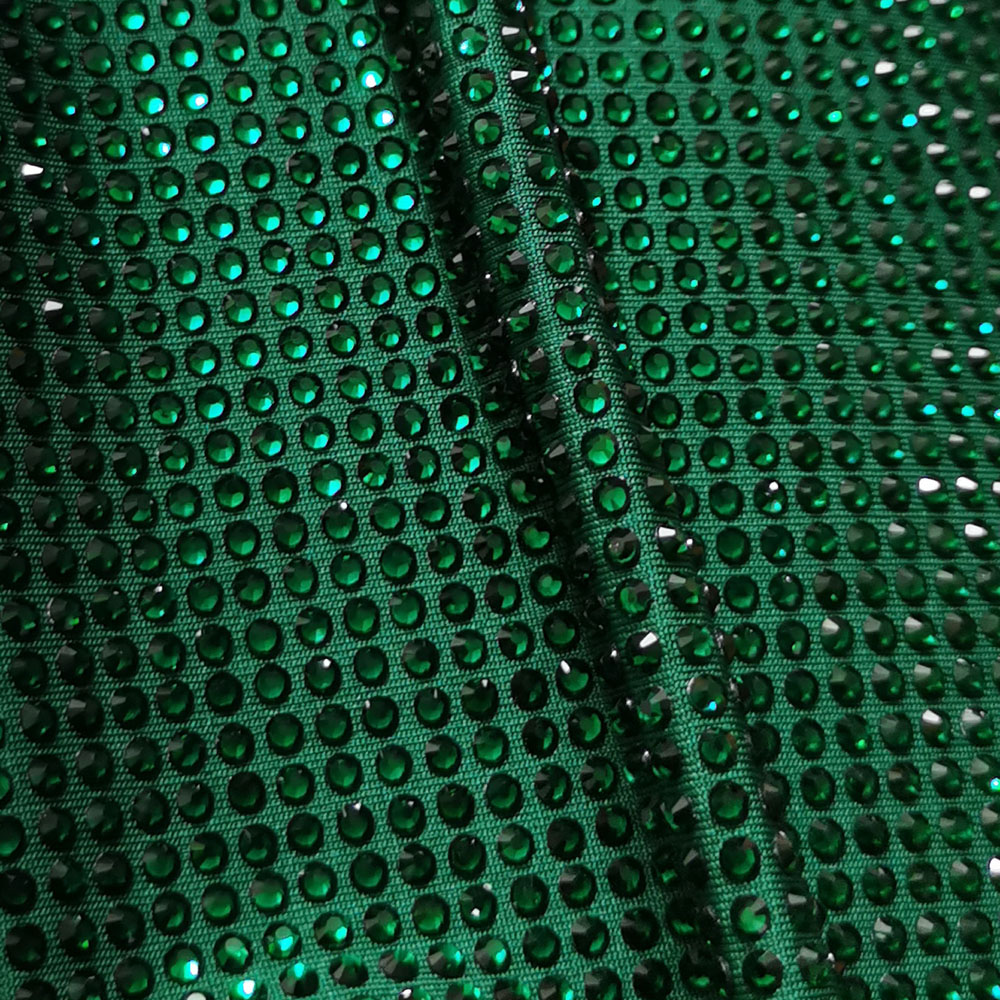 High Quality Hot Fix Crystal Emerald Green Rhinestone Strass Iron Sewing Dance Fabric Polyester Spandex Stretch Knitting Elastic