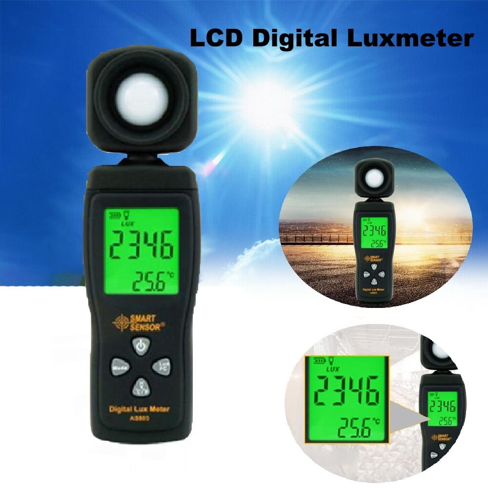 Dreamburgh Digital Lux meter 0~200,000lux Range Luxmeter Light Meter illuminometer lux/fc Photometer Tester Enviromental Testing