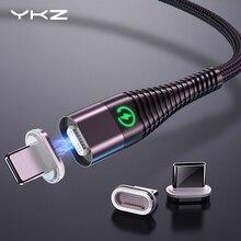 YKZ Магнитный кабель Micro type C светодиодный светильник 3 А Быстрая зарядка Магнитный USB C кабель для iphone samsung Xiaomi кабель для передачи данных