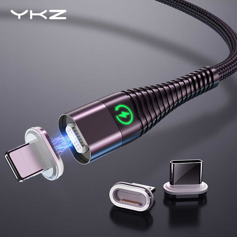 YKZ Magnetic Cable Micro Type C Cable LED Light 3A Fast Charging Magnet USB C Cable for iphone Samsung Xiaomi Data Wire Cord