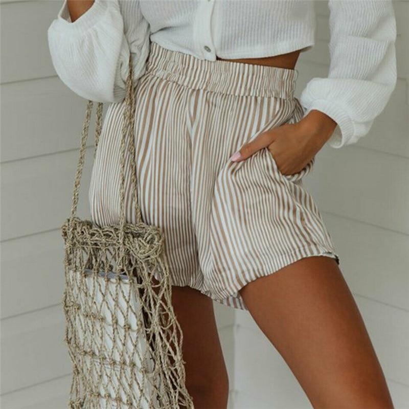 Fashion Women High Waist Striped Shorts Elegant Summer Casual Ladies Loose Mini Short Trousers Dames Party Club Streetwear