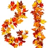 2 Pcs Artificial Autumn Maple Leaves Garland, Fall Hanging Plant for Home Garden Wall Doorway Backdrop Fireplace Decoration, Wed