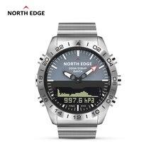 Original North EDGE Mens GAVIA 2 Smart Watch นาฬิกาหรูหราเหล็กเต็มรูปแบบเครื่องวัดระยะสูงเข็มทิศดำน้ำกีฬานาฬิกากันน้ำ