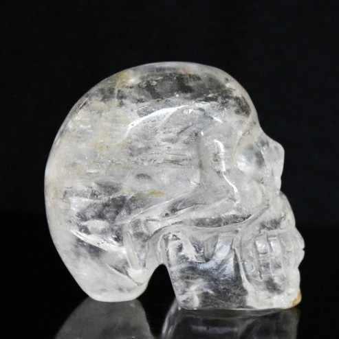 YM 314 Natural Clear Gold Rutielkwarts Crystal Skull Reiki Healing