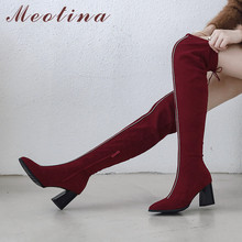 Meotina Winter Thigh High Boots Women Zipper Thick High Heels Over The Knee Boots Slim Stretch Pointed Toe Shoes Lady Fall 33-46 цена и фото
