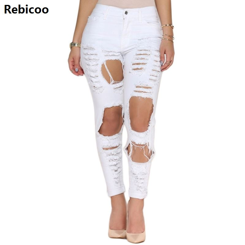 New White Hole Ripped Jeans Women Jeggings Cool Denim High Waist Pants Capris Female Skinny Black Casual Jeans