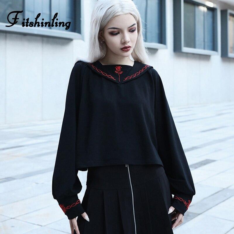 Fitshinling Harajuku Gothic Womens Sweatshirt Autumn Winter Black College Sudadera Mujer Goth Dark Embroidery Sweatshirts 2019
