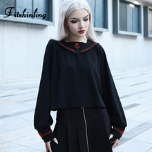 Fitshinling Harajuku Gothic Womens Sweatshirt Autumn Winter Black College Sudadera Mujer Goth Dark Embroidery Sweatshirts 2019