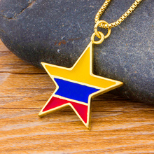 Fashion Copper Cubic Zirconia Yellow Blue Star Pendant Necklace Gold Color Chain Statement Jewelry Party Birthday Gift