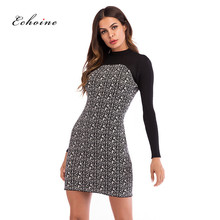 Echoine Party Elegant Dresses Women O-Neck Contrast Color Patchwork Knit Sweet Slim Evening Midi Pencil Dress Ladies Streetwear