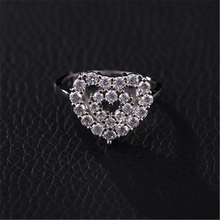 New Silver Ring Classic Temperament Female Models Exaggerated Inlaid Zircon Hand Jewelry Engagement Items