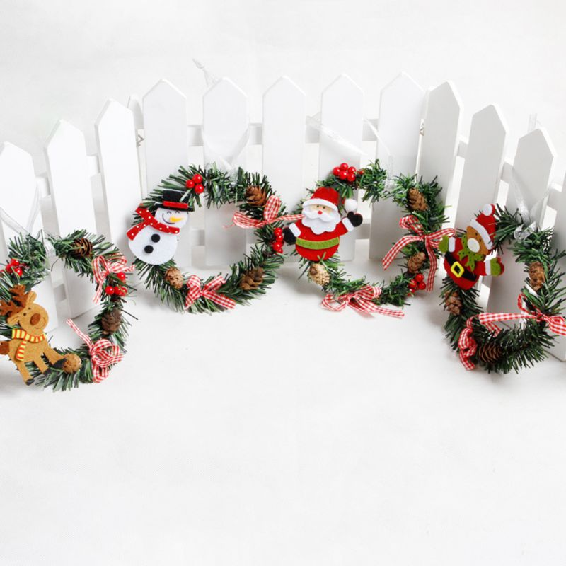 Wall Hanging Christmas Wreath Decoration For Home Xmas Party Door Cartoon Doll Garland Ornament Holiday Decor Accessories