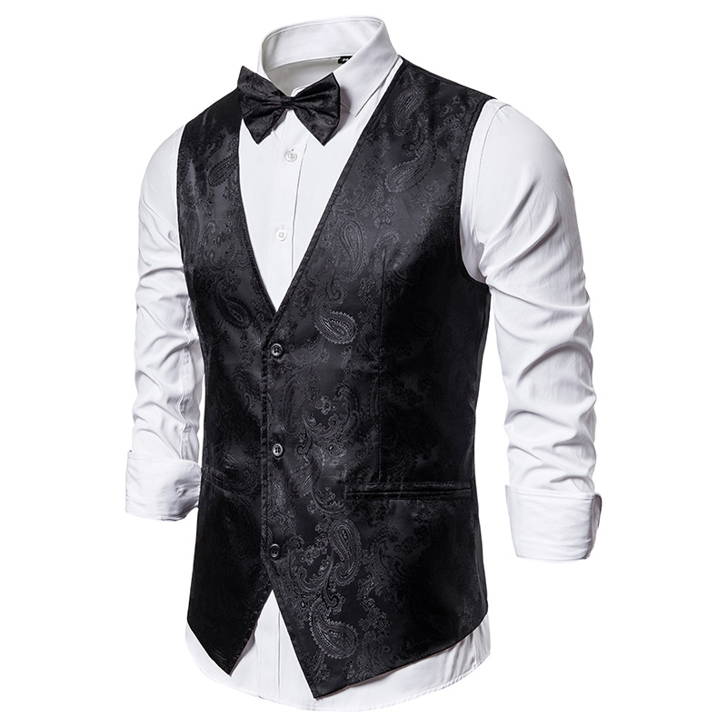 Black Paisley Vest Men Gilet Homme 2020 Brand Slim Fit Waistcoat Men Wedding Groom Vests Business Formal Dress Vest With Bowtie