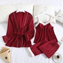 Kimono Robe Sleepwear Gown Winter Women Lady Autumn Fleece Suit Suspender-Strap Island