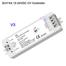 купить DC 12V 24V 2.4G RF 3 in 1 Single color/color temperature/RGB led Controller 3CH*4A V3 receiver for led strip light по цене 599.21 рублей