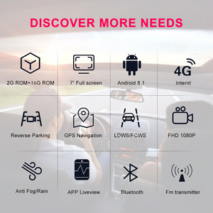 Image 3 - Bluavido 7 inç 4G ADAS Android araç kontrol paneli DVR GPS navigasyon FHD 1080P çift Lens Dash kamera G sensörü araba video kaydedici