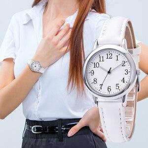 Image 3 - Japão movimento de quartzo números árabes fácil leitura correias de couro senhora relógio feminino cor doces simples dial watch