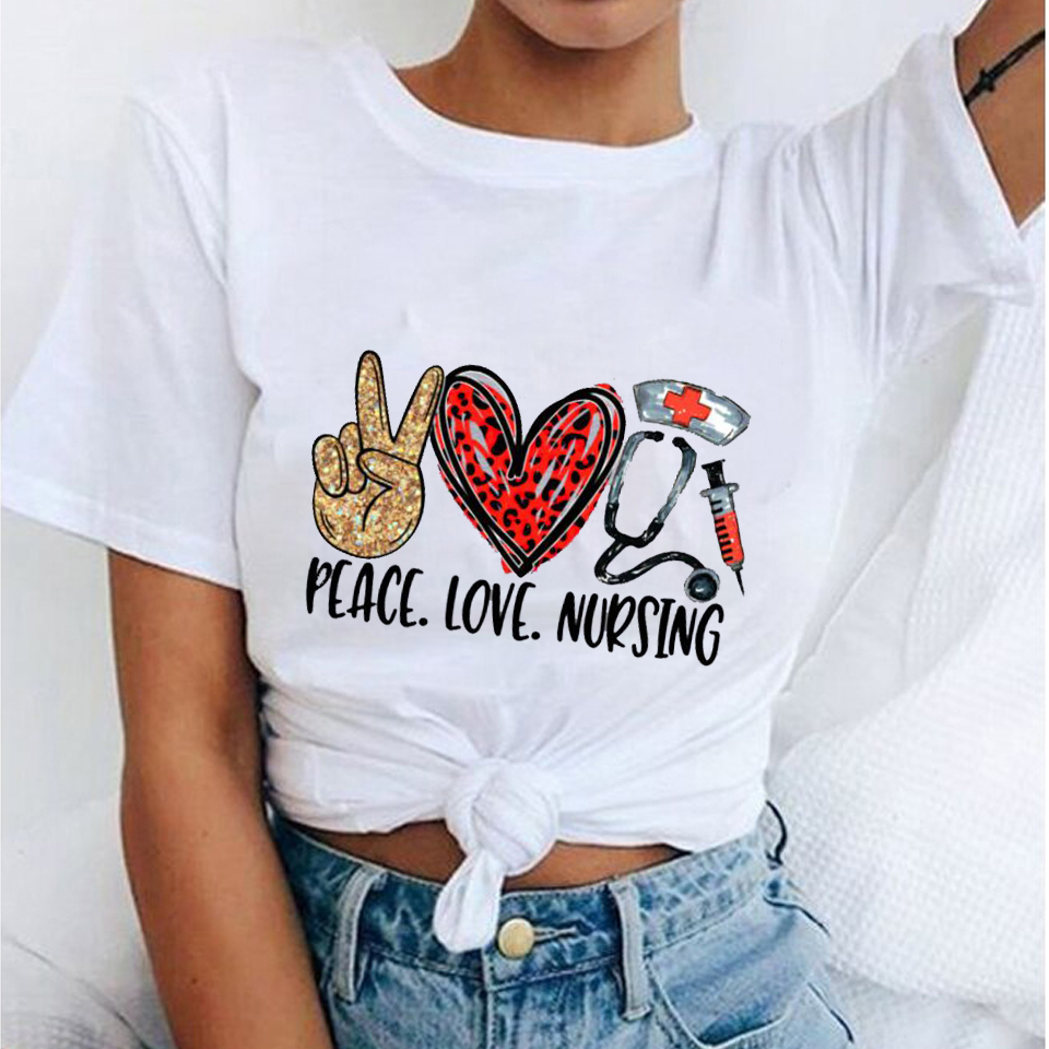 Peace Love Nursing T-shirt Harajuku Kawaii Funny Tshirt Women Ullzang T-shirt Graphic Fashion Tshirt Korean Style Top Tee Female