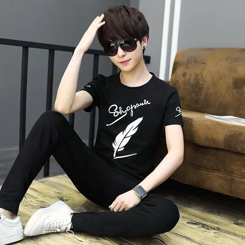 Short Sleeve T-shirt Men's Teenager Summer Popular Brand T-shirt Junior High School Students 12-15-Year-Old Summer Wear Tops Big
