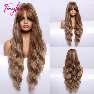 Long Water Wavy Golden Brown Wigs Brown Blonde highlight Synthetic Wigs with Bangs Wigs For Women Cosplay Heat Resistant Fiber(China)